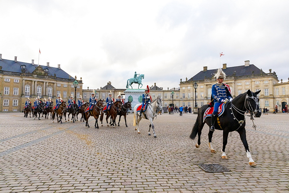 Guards on horseback, Changing of the Guard, Amalienborg Palace, Copenhagen, Denmark, Scandinavia, Europe