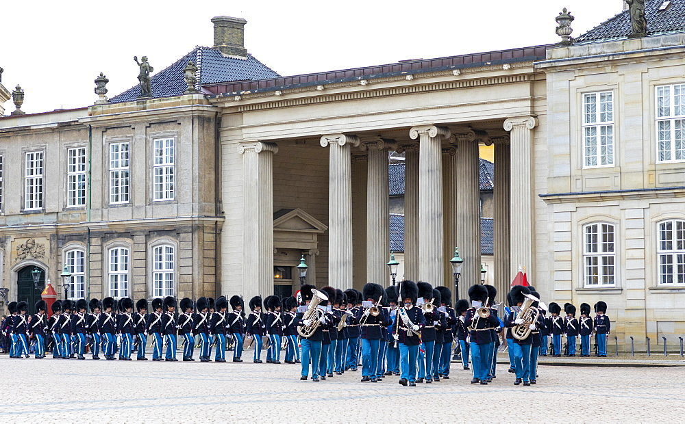 The Royal Guards Music Band, Amalienborg Palace, Copenhagen, Denmark, Scandinavia, Europe