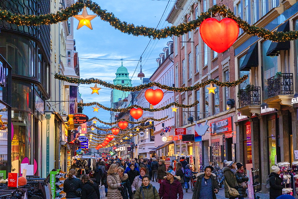 Stroget Street at Christmas, Copenhagen, Denmark, Scandinavia, Europe