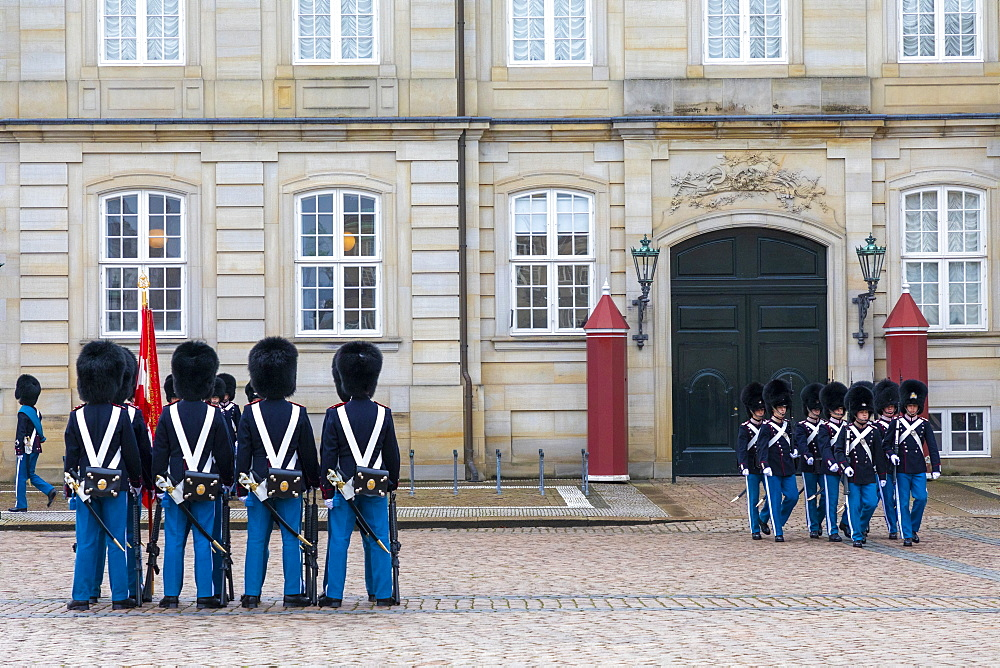 The Royal Guards Music Band, Amalienborg Palace, Copenhagen, Denmark, Scandinavia, Europe - 1126-1878