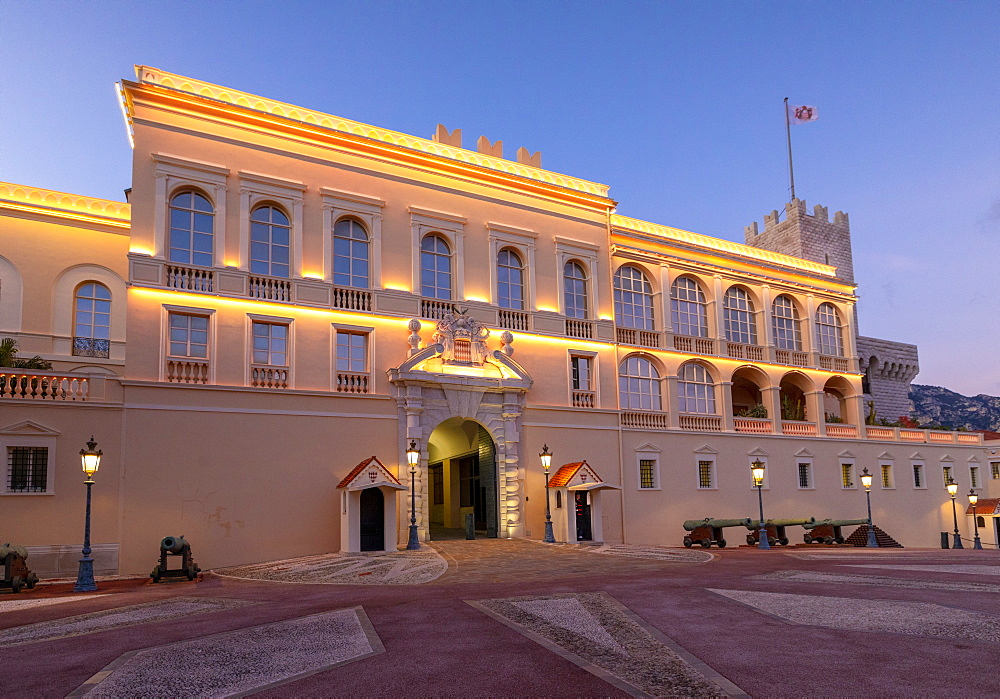 The Prince's Palace of Monaco at dusk, Monte Carlo, Monaco, Europe - 1126-1898