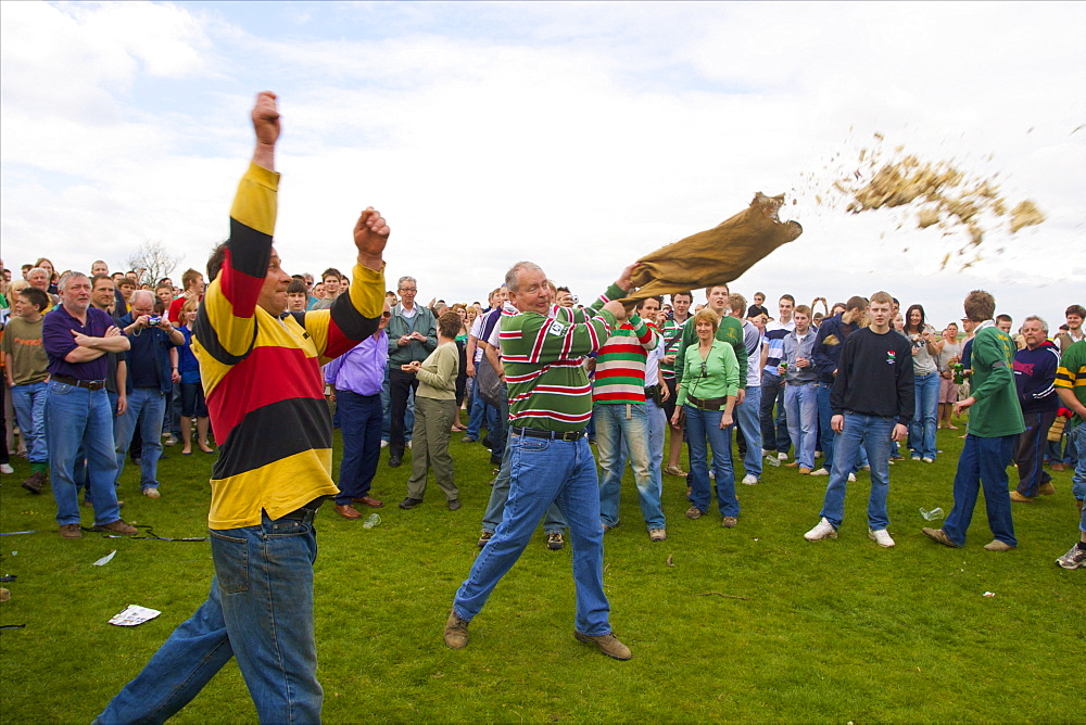 Hare Pie spread on the Ground for the Old Annual Custom of Bottle-kicking, Hallaton, Leicestershire, England, United Kingdom, Europe