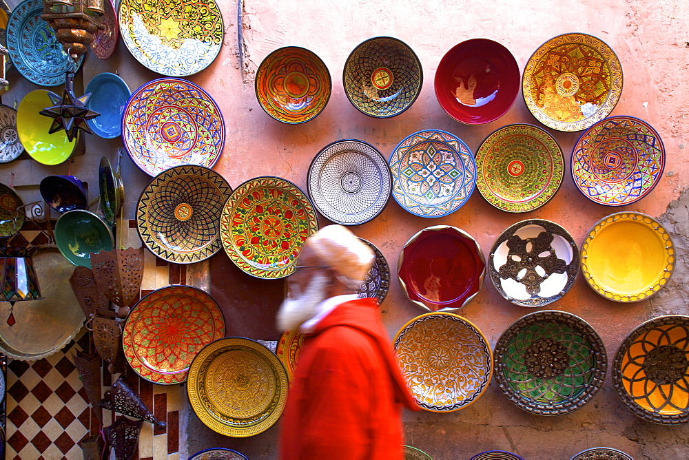 Street scene with Moroccan ceramics, Marrakech, Morocco, North Africa, Africa