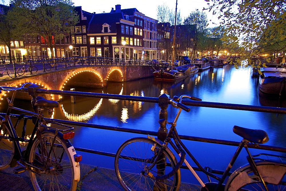 Keizersgracht at night, Amsterdam, Netherlands, Europe.