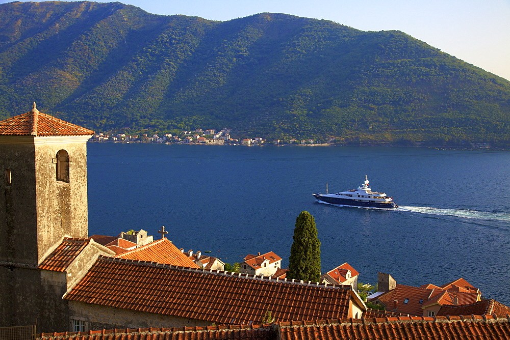 Kotor Bay, UNESCO World Heritage Site, viewed from Perast, Montenegro, Europe