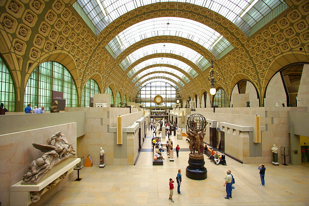 Elevated view of the interior of the Musee d'Orsay, Paris, France, Europe