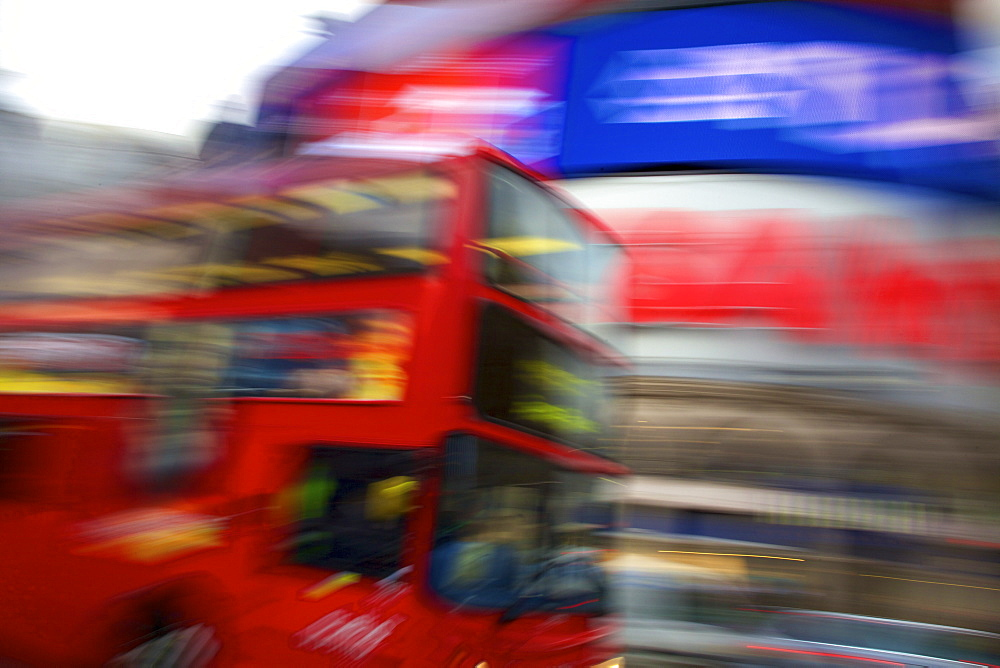 Red London bus, Piccadilly Circus, London, England, United Kingdom, Europe