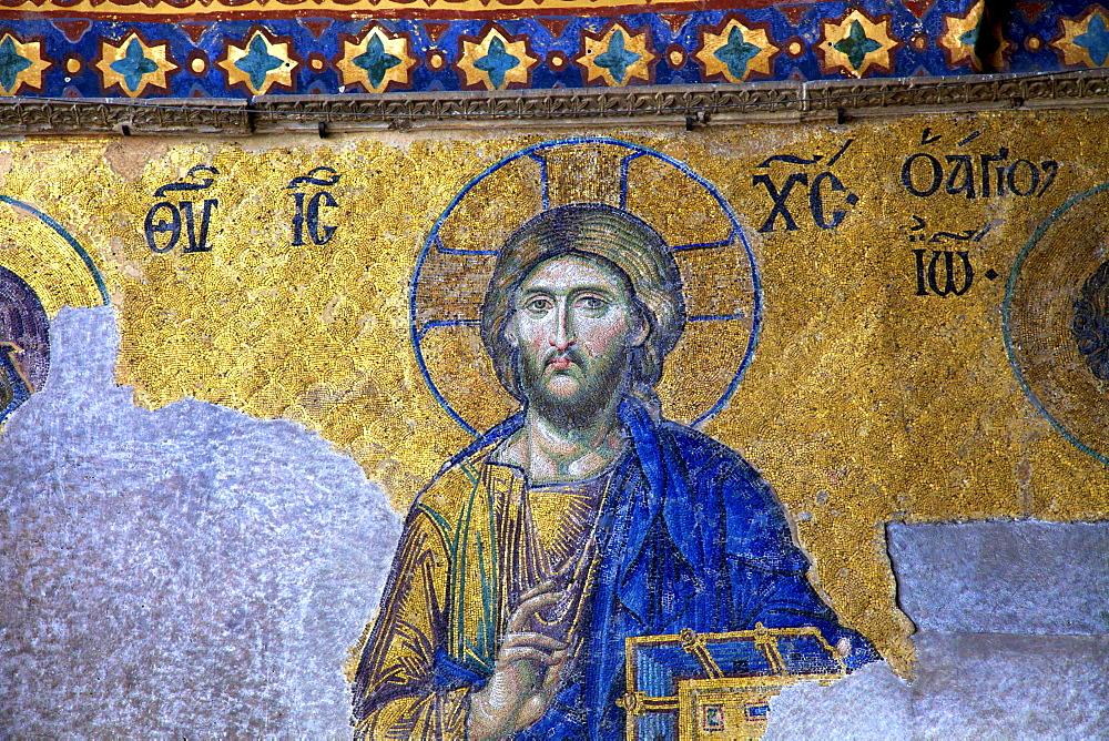 Mosaic of Jesus Christ, interior of Hagia Sophia (Aya Sofya Mosque) (The Church of Holy Wisdom), UNESCO World Heritage Site, Istanbul, Turkey, Europe