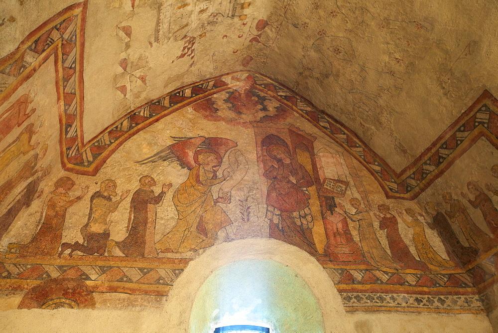 Medieval frescoes in the Fisherman's Chapel, St. Brelade's Bay, Jersey, Channel Islands, Europe