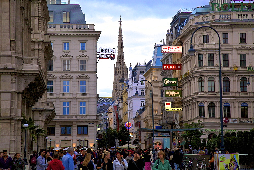 Shopping area with St. Stephen's Cathedral in background, Vienna, Austria, Europe
