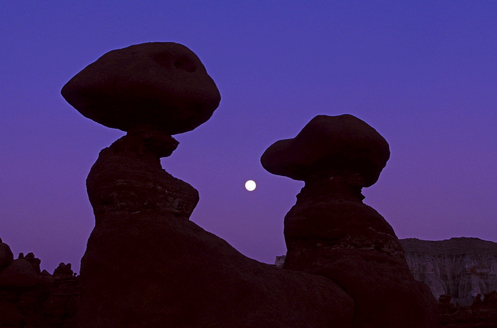 Stone formations at night, Goblin Valley State Park, Utah, USA