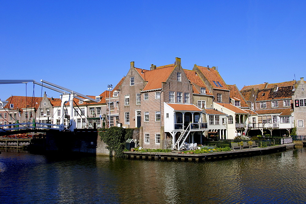 Draw bridge and houses, Enkhuizen, Netherlands