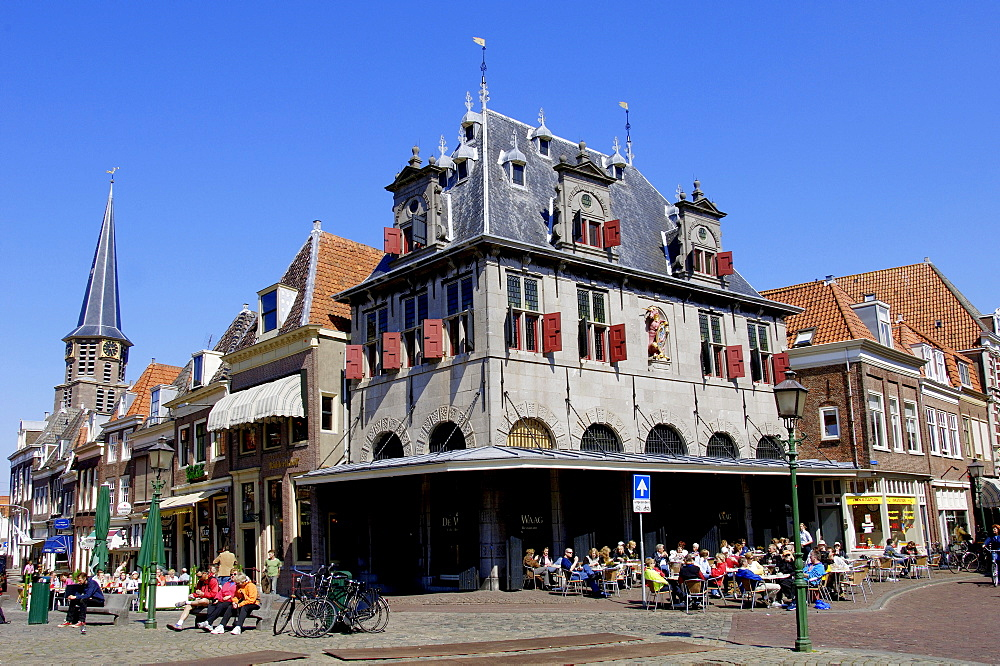 Restaurant and pavement cafe 'de Waag', former weighbridge, Hoorn, Netherlands