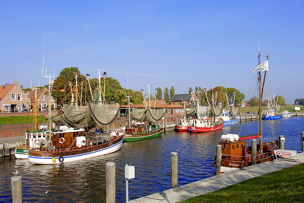 Shrimps cutter in harbour, Greetsiel, Lower Saxony, Germany