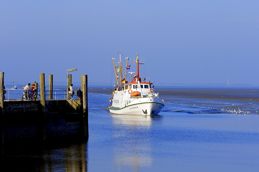 Ferry boat from Spiekeroog, Neuharlingersiel, Lower Saxony, Germany