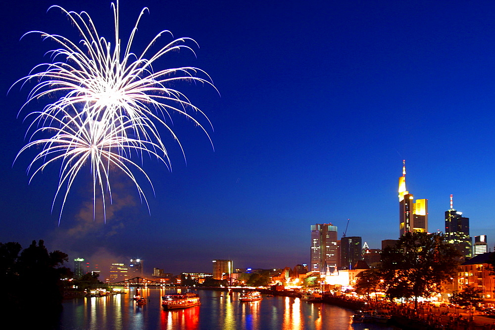 Fireworks at river Main, Frankfurt, Hessen, Germany