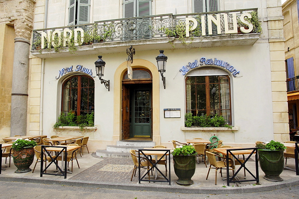Hotel and restaurant Nord Pinus, Arles, Bouches-du-Rhone, Provence-Alpes-Cote d'Azur, Southern France