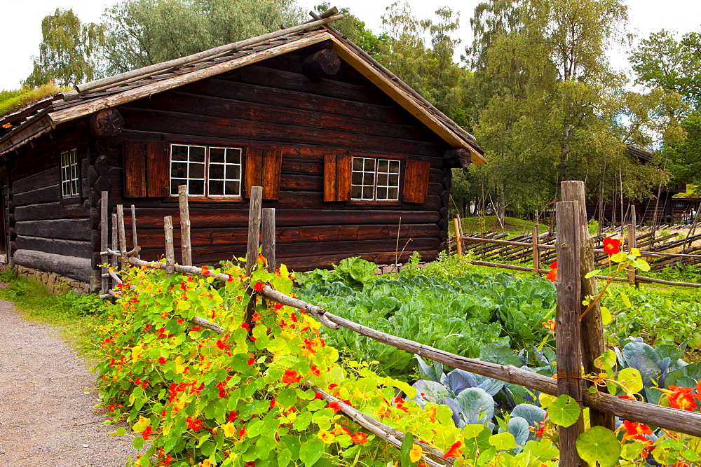 Farm house, Bygdoy, Oslo, Norway / green roofing, log cabin