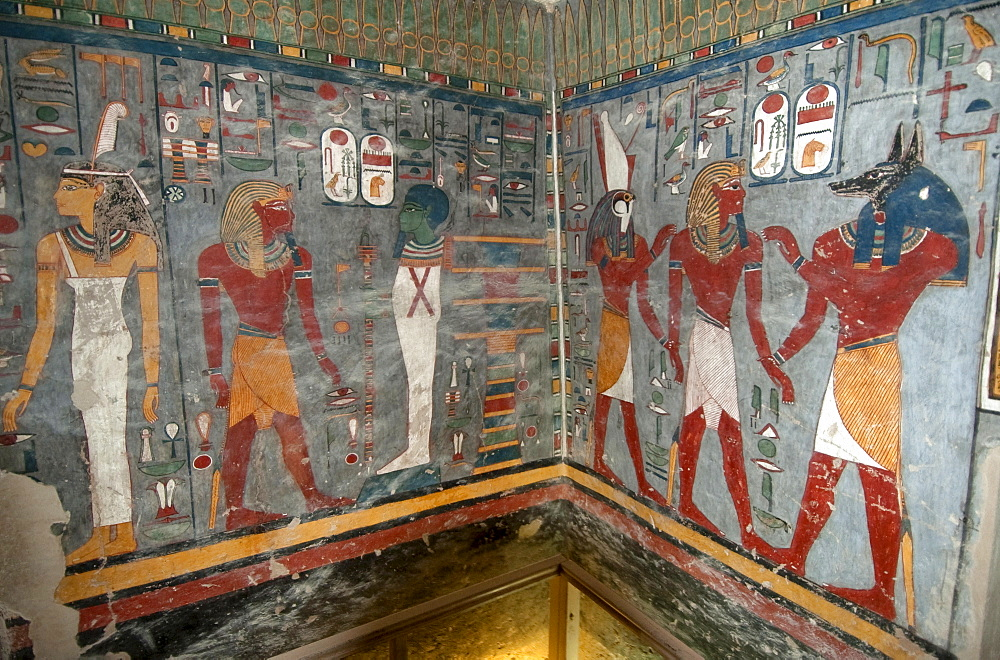 Mural painting, pharao, pharaohs, tomb of Ramses I, tomb number KV 16, grave, Valley of Kings, West-Thebes, Luxor, Egypt