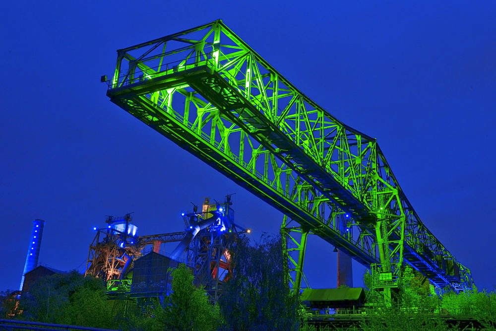 Light show of Jonathan Park, abandoned industrial facilitie, Country Park Duisburg-North, former Meidericher Eisenhutte, Duisburg, Ruhr area, North Rhine-Westphalia, Germany / Meidericher Eisenh゚tte, Industrial Heritage Trail