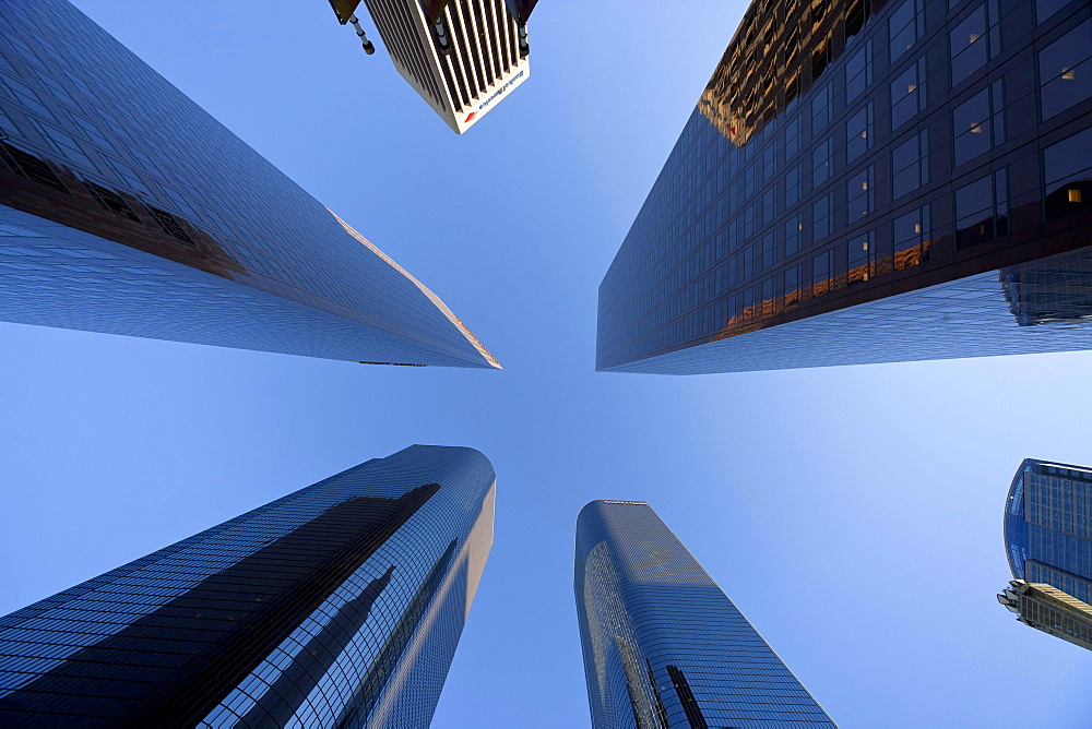 Tower buildings, worm's-eye view, Downtown Los Angeles, California, USA / L.A.