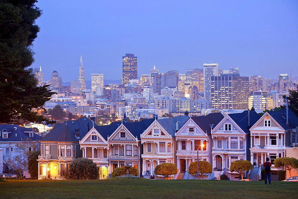 Painted Ladies, Victorian wooden houses, Alamo Square, San Francisco, California, USA / framehouse, wooden house