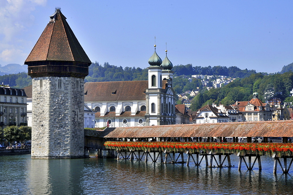 Chapel Bridge, Water Tower, Jesuit church St Franz Xaver, Lake Lucerne, Lucerne, Switzerland / Vierwaldstattersee, Vierwaldstättersee, Lake of the Four Forested Cantons, Kapellbrucke, Kapellbrücke, Wasserturm