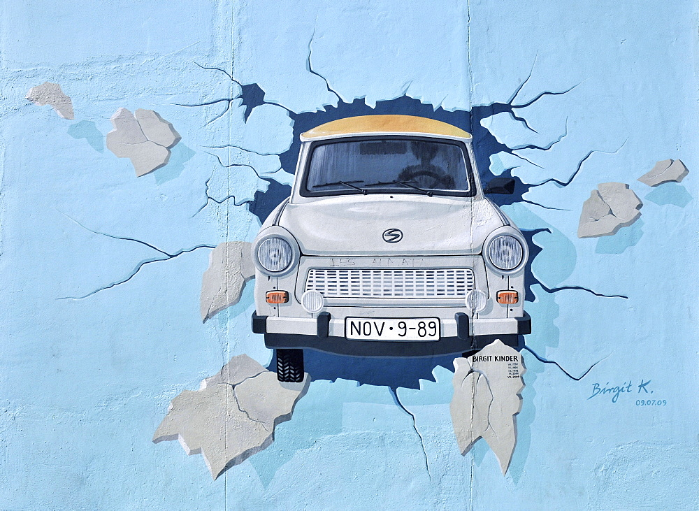 Test the Best, by Birgit Kinder, Trabant, East Side Gallery, mural art, painting, open-air gallery, Berlin Wall, Friedrichshain, Berlin, Germany / Berliner Mauer - 1127-17349