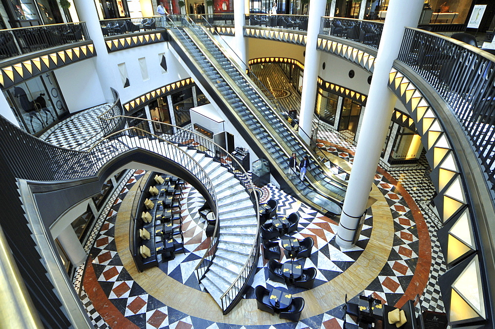 Marble, escalator, stairs, inner courtyard, atrium, shopping mall, Quartier 206, Friedrichstrasse, Mitte, Berlin, Germany - 1127-17393
