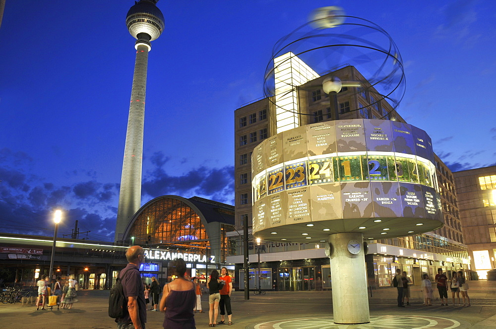 Urania World Time Clock, Berlin Alexanderplatz station, Fernsehturm Berlin, Alexanderplatz, Mitte, Berlin, Germany / television tower, Alexander Square