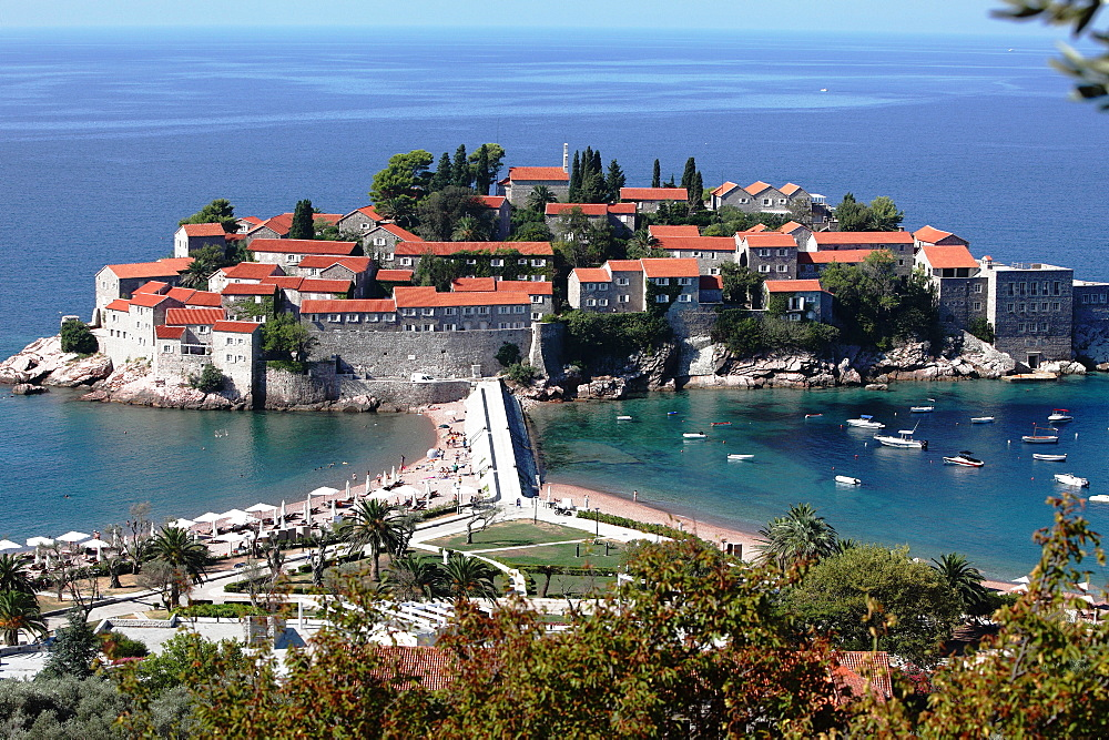 Former fishing village, today holiday resort, Island Sveti Stefan, bay of Budva, Montenegro