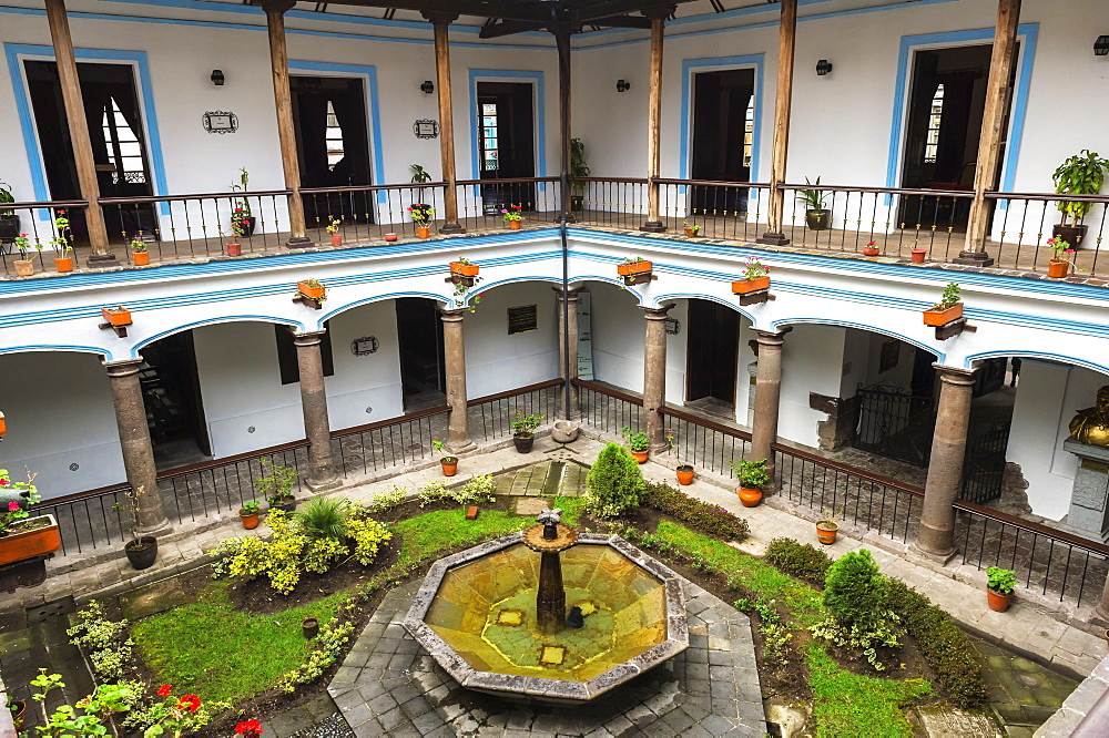 Inner courtyard, Army General Antonio Jose de Sucre House, Quito Historical center, Pichincha Province, Ecuador, Unesco World Heritage Site