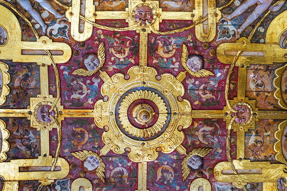San Francisco Church and Convent, Detail of a ceiling, Quito, Pichincha Province, Ecuador, Unesco World Heritage Site