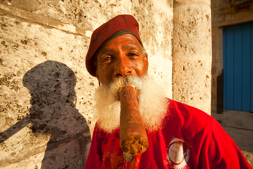 men with beard smoking cigar, Havana, Cuba, Caribbean