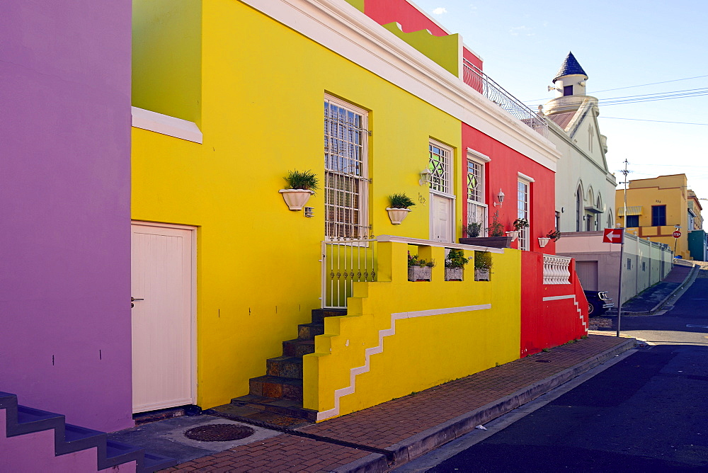 Colourful houses in the Cape-Muslim-Quarter or Bo Kaap Quarter, Bo-Kaap, Cape Town, Western Cape, South Africa, Africa