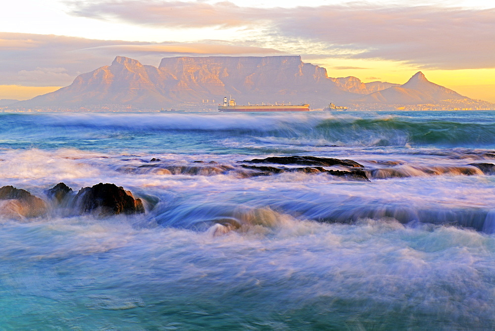 Table mountain, view from Bloubergstrand, Cape town, Western Cape, South Africa