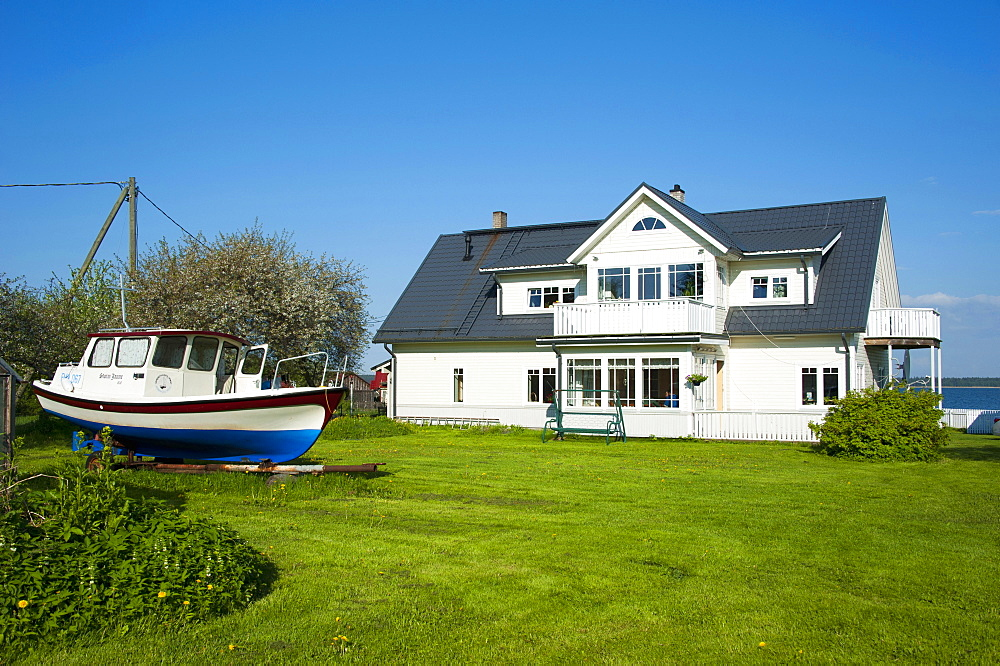 House and boat, Kasmu, National park Lahemaa, Estonia, Baltic states, Europe
