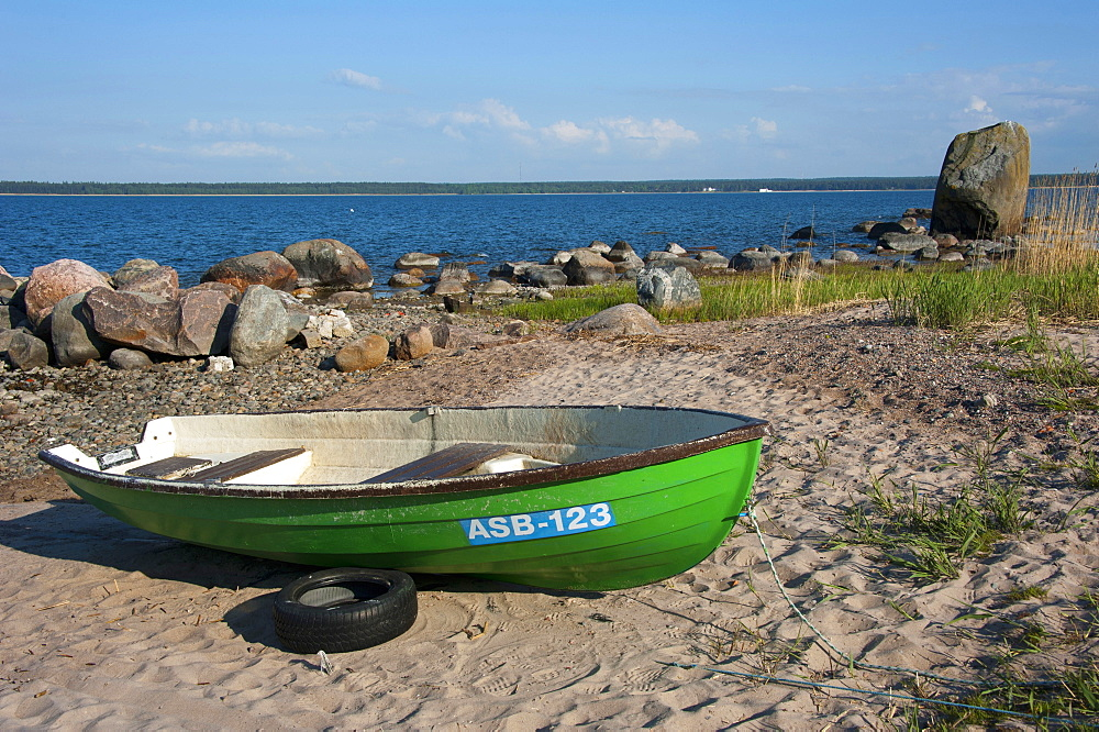 Boat at beach, Kasmu, National park Lahemaa, Estonia, Baltic states, Europe