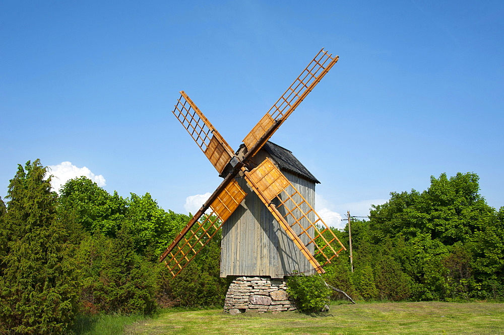 Windmill, Koguva, Island Muhu, Estonia, Baltic states, Europe