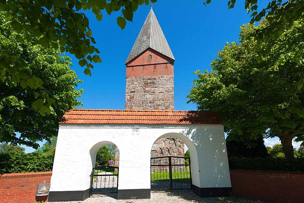 St Mary's Church, entrance gate, Hattstedt, North Frisia, Schleswig-Holstein, Germany