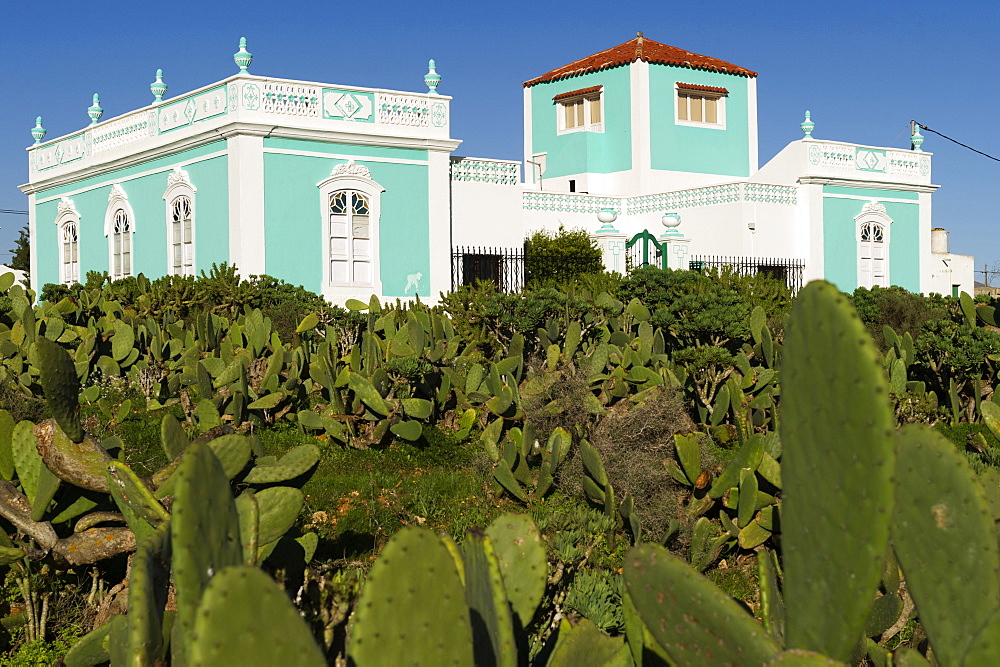Fuerteventura, Canary Island, Spain, Villa abouth 1900 in Antigua with prickly pears,