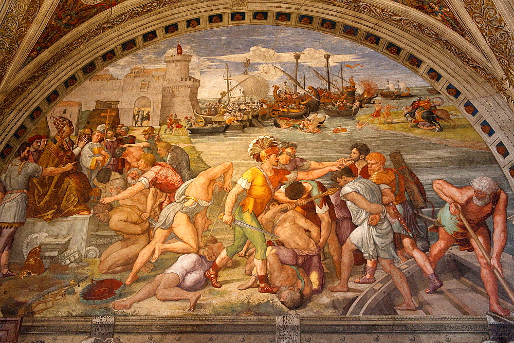 painting Battle of Ostia, by Raphael, fresco, Room of the Fire in the Borgo, Fresco, Fresko, Raphael's rooms, Apostolic Palace, Vatican Museums, Vatican city, Rome, Latium, Lazio, Italy, Europe / Vatican