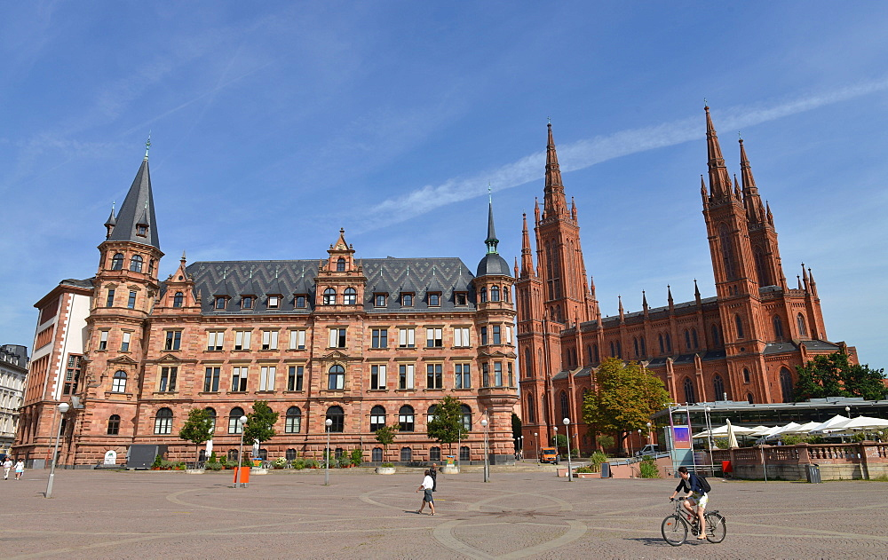 Old city hall, market church, Marktplatz, Wiesbaden, Hesse, Germany / Marktkirche