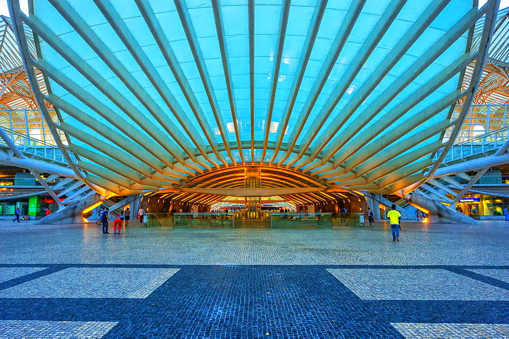 Oriente train station at sunset, Parque das Nacoes (Park of the Nations), Lisbon, Portugal