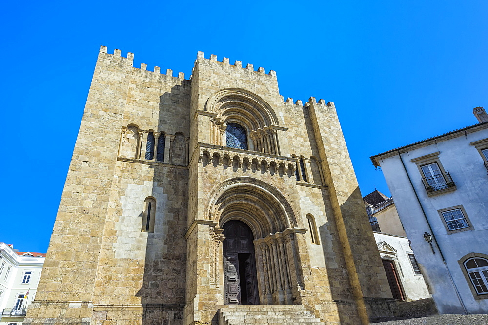 Main façade, Cathedral Se Velha and old city, Coimbra, Beira Province, Portugal, Unesco World Heritage Site