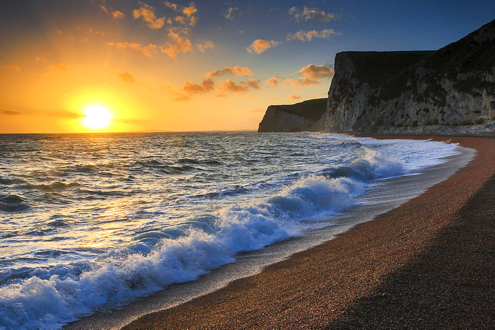 Chalk cliff coast, Jurassic Coast World Heritage Site, Dorset, England