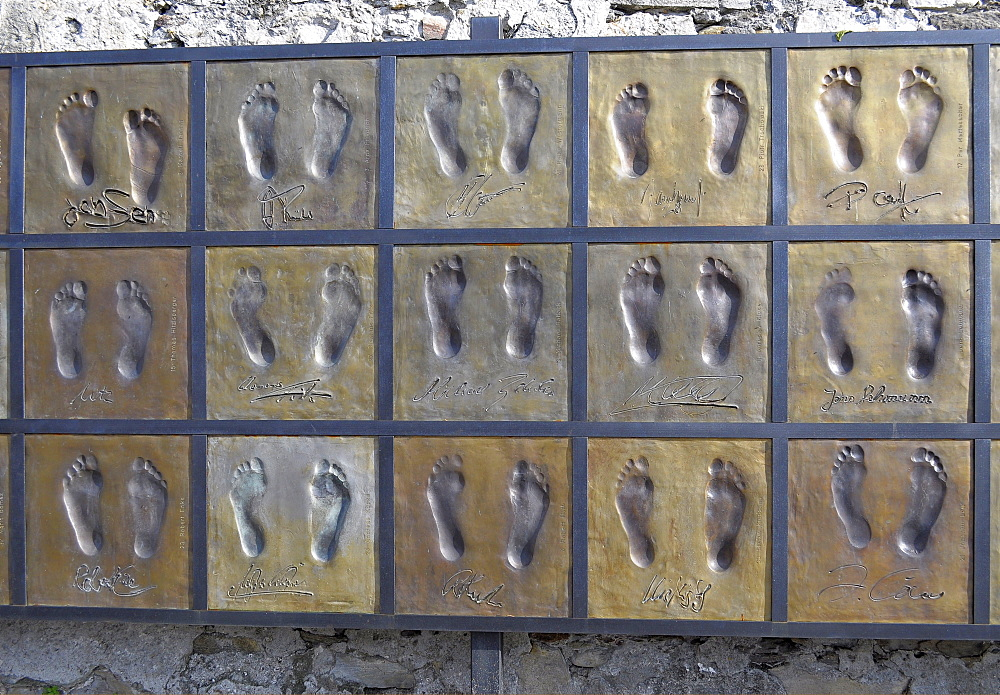 German national football team, footprints on wall in Ascona, Lake Maggiore, Ticino, Switzerland