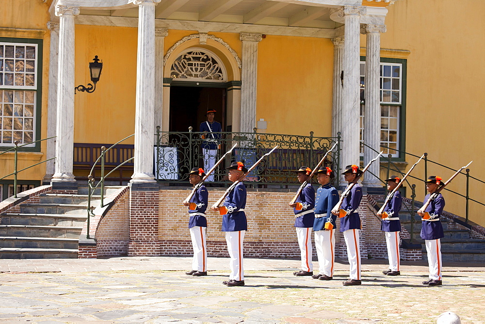 guards in historic uniform during Key Ceremony at Castle of Good Hope, Cape Town, Western Cape, South Africa