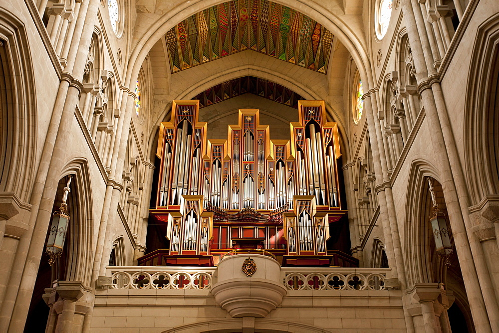 church organ, catholic Almudena Cathedral, Santa Maria la Real de La Almudena, Madrid, Spain, Europe