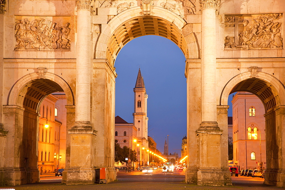 Siegestor, Victory Gate, and St Ludwig church, Munich, Bavaria, Germany